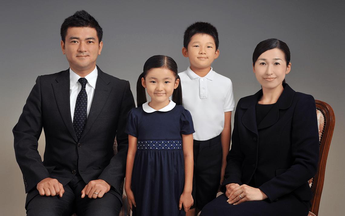 スタジオUPの受験証明写真家族写真サンプル